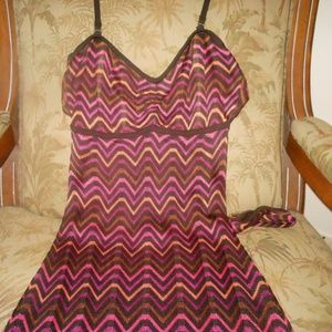 BEBE Chevron Zig Zag Maxi Dress--SMALL